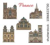 france famous travel landmark... | Shutterstock .eps vector #1086823730