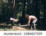 lumberjack with an axe | Shutterstock . vector #1086827309