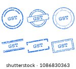 gst stamps on white | Shutterstock .eps vector #1086830363