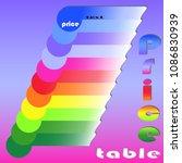 price  table  chart | Shutterstock .eps vector #1086830939