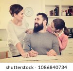 young father and mother signing ... | Shutterstock . vector #1086840734