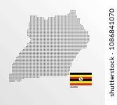 uganda map design with flag and ... | Shutterstock .eps vector #1086841070