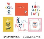 set of bright cute posters and...   Shutterstock .eps vector #1086843746