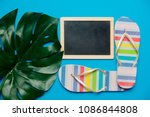 Small photo of colored flop flops sandals, blackboard and palm leaf. Objects isolated on blue background