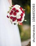 wedding bouquet in red white...