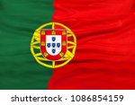 portugal national flag with... | Shutterstock . vector #1086854159