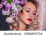pretty young girl. blonde woman ... | Shutterstock . vector #1086854726