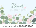 natural pink and green greeting ... | Shutterstock .eps vector #1086855140