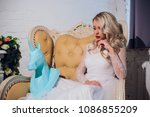 freaky blonde girl and unicorn... | Shutterstock . vector #1086855209
