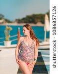 beautiful pregnant woman... | Shutterstock . vector #1086857126