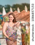 beautiful pregnant woman... | Shutterstock . vector #1086857153