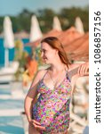beautiful pregnant woman... | Shutterstock . vector #1086857156