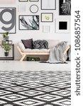 patterned carpet in scandi... | Shutterstock . vector #1086857564