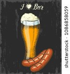 set with hand drawn beer and... | Shutterstock .eps vector #1086858059