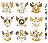set of vector vintage elements  ... | Shutterstock .eps vector #1086875759