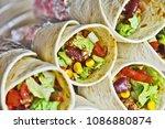 colorful of burrito roll close...