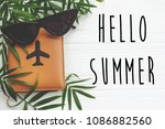hello summer text on passport... | Shutterstock . vector #1086882560