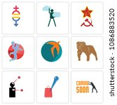 set of 9 simple editable icons... | Shutterstock .eps vector #1086883520