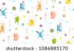 animals jumping rope seamless... | Shutterstock . vector #1086885170