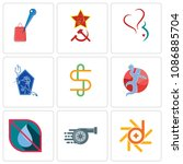 set of 9 simple editable icons...   Shutterstock .eps vector #1086885704