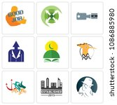 set of 9 simple editable icons...   Shutterstock .eps vector #1086885980