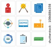 set of 9 simple editable icons... | Shutterstock .eps vector #1086886358