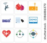 set of 9 simple editable icons... | Shutterstock .eps vector #1086886370