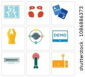 set of 9 simple editable icons... | Shutterstock .eps vector #1086886373