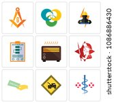 set of 9 simple editable icons... | Shutterstock .eps vector #1086886430