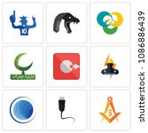 Set Of 9 simple editable icons such as masonic, ethernet, globe, electrician, output, bismillah, triskelion, mamba, sports fan, can be used for mobile, web, 48x48 icon
