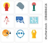 set of 9 simple editable icons... | Shutterstock .eps vector #1086886616