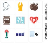 set of 9 simple editable icons... | Shutterstock .eps vector #1086886643