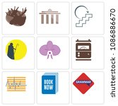 set of 9 simple editable icons...   Shutterstock .eps vector #1086886670