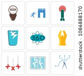 set of 9 simple editable icons... | Shutterstock .eps vector #1086888170