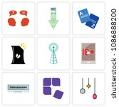 set of 9 simple editable icons...   Shutterstock .eps vector #1086888200