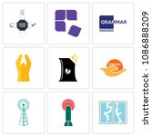 set of 9 simple editable icons... | Shutterstock .eps vector #1086888209