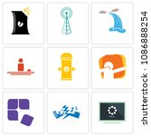 set of 9 simple editable icons...   Shutterstock .eps vector #1086888254