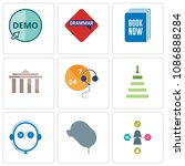 set of 9 simple editable icons... | Shutterstock .eps vector #1086888284