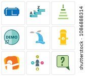 set of 9 simple editable icons... | Shutterstock .eps vector #1086888314