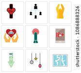 set of 9 simple editable icons... | Shutterstock .eps vector #1086888326