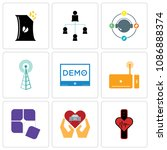 set of 9 simple editable icons... | Shutterstock .eps vector #1086888374