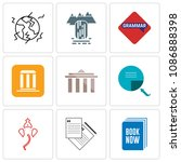 set of 9 simple editable icons...   Shutterstock .eps vector #1086888398