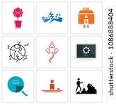 set of 9 simple editable icons...   Shutterstock .eps vector #1086888404
