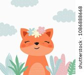 cartoon cute fox illustration.... | Shutterstock .eps vector #1086888668