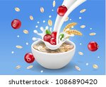 oat flakes with cranberry.... | Shutterstock .eps vector #1086890420