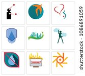 set of 9 simple editable icons... | Shutterstock .eps vector #1086891059