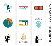 set of 9 simple editable icons... | Shutterstock .eps vector #1086891140