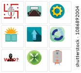 set of 9 simple editable icons...   Shutterstock .eps vector #1086892004