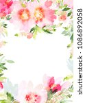 greeting card with watercolor... | Shutterstock . vector #1086892058