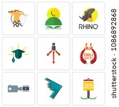 set of 9 simple editable icons... | Shutterstock .eps vector #1086892868